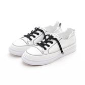 MICHELLE PARK 韓版小白鞋 百搭簡約懶人鞋帶休閒小白鞋-黑鞋帶
