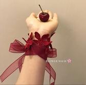 【蕾絲手腕花】瓣歐根紗絲帶綁手腕新娘敬酒服禮服伴娘手裝飾手帶