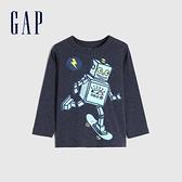 Gap男幼童 童趣創意印花圓領長袖T恤 663826-深靛藍