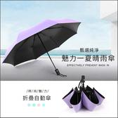 黑膠黑布傘 雨傘 晴天傘 不落漆 不掉色【BA0067】 防水布雨傘 馬卡龍晴雨自動收納傘