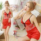 性感睡衣 蕾絲款 熱銷商品 情趣用品 夜誘夏娃!舒適柔緞鏤空蕾絲情趣睡衣﹝紅﹞