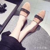 深口女鞋2018新款韓版女孕婦單鞋水鑽軟底女鞋豆豆鞋平底瓢鞋「千千女鞋」