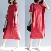 洋裝 連身裙 大碼女裝休閒t恤長裙女夏季新款寬鬆胖mm純棉短袖顯瘦過膝洋裝