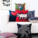 預購★0509-27凱斯哈林Keith Haring名畫現代創意簡約北歐棉麻沙發靠墊抱枕靠枕 (45*45cm/枕套)