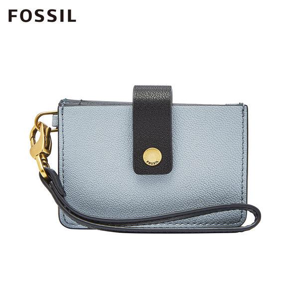 FOSSIL MINI TAB WALLET 粉藍色時尚多層皮夾 SL7761436