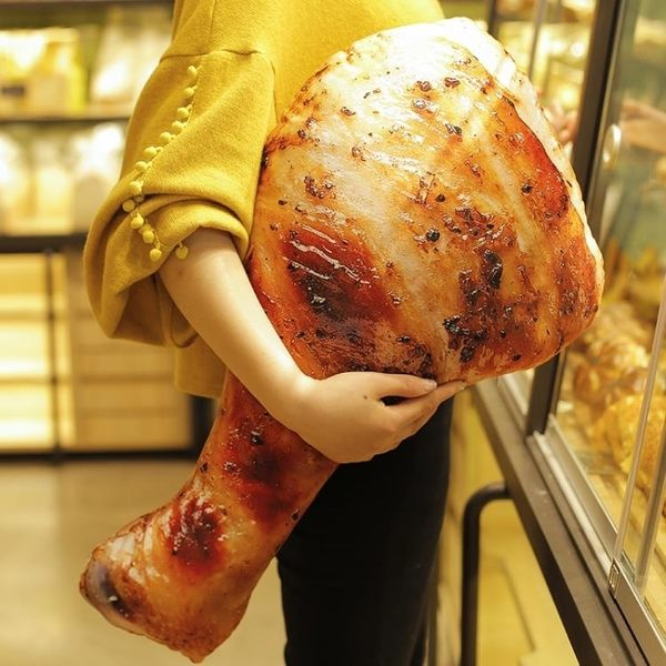 公仔 雞腿抱枕抖音玩具同款仿真3d超大號食物毛絨玩具女孩搞怪韓國公仔