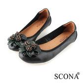 SCONA 蘇格南 全真皮 輕量舒適花飾娃娃鞋 黑色 31037-1