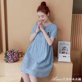 孕婦裝夏裝新款時尚懷孕期韓版寬鬆大碼短袖中長款孕婦洋裝艾美時尚衣櫥