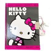 小禮堂 Hello Kitty 迷你硬殼筆記本附造型鎖 橫線記事本 日記本 (桃灰 側身) 0840805-13565