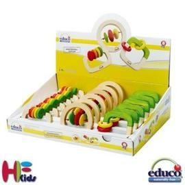 《德國educo愛傑卡》木製搖鈴 GrabHappy Rattle Display(長型、方形、圓型三種款式)