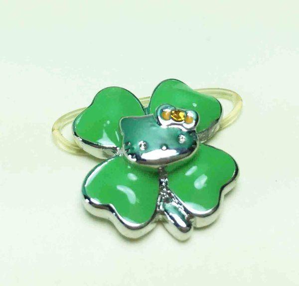 【震撼精品百貨】Hello Kitty 凱蒂貓~造型戒指-幸運草