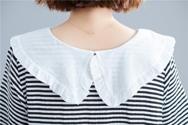 東京奈奈日系森林系黑白條紋翻領短袖寬鬆休閒洋裝[j06701]