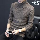 高領毛衣冬季男士高領毛衣男正韓潮流個性修身加厚保暖針織衫加絨刷毛線衫外套