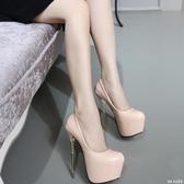 大碼新款超高跟 20cm細跟22cm魚嘴單鞋性感夜店女鞋大碼43恨天高 qf23869【bad boy時尚】