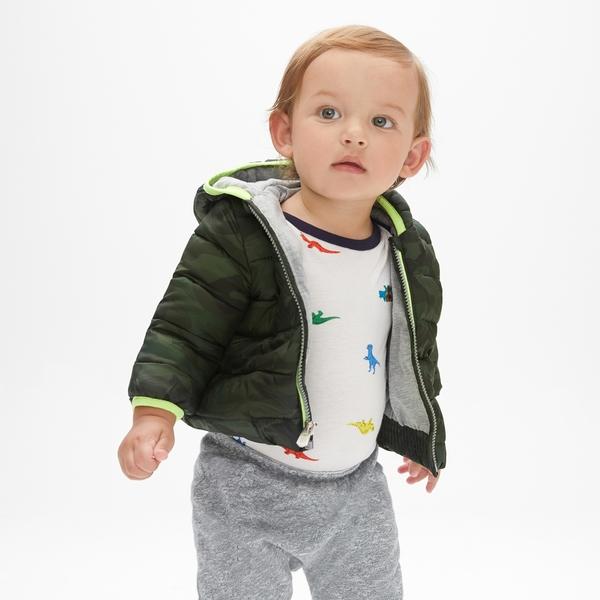 Gap男嬰兒 舒適溫暖長袖拉鏈棉服 473867-橄欖綠