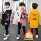 男童外套 男童加厚外套春秋款秋冬休閒兒童中大童中長款加絨刷毛洋氣風衣潮