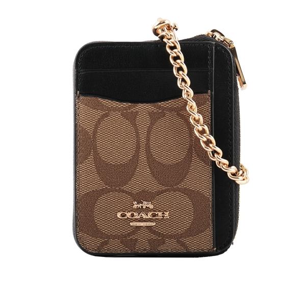 【COACH】PVC 拚皮革L型拉鍊卡夾/零錢包(黑色/卡其/巧克力) C1885 IMNOX