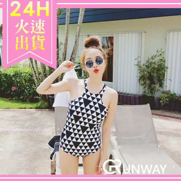 【R】韓國 新款 泳衣 比基尼 黑白 拼色 三角形 連身 修身 露背 性感 溫泉 游泳衣 泳衣 泳裝