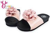 女童拖鞋 素雅質感花朵休閒拖鞋 百搭耐穿H5673#粉◆OSOME奧森童鞋/小朋友