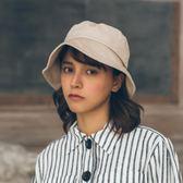 [四季]良品日系純色水洗平頂漁夫帽子簡約遮陽帽男女中性百搭盆帽