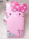 ♥小花花日本精品♥Hello kitty 凱蒂貓粉色大臉點點蝴蝶結圖案扣式長皮夾手拿皮包60027405