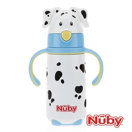 Nuby 不銹鋼真空學習杯 (細吸管) 大麥町造型 420ml (藍)