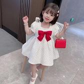 女童夏裝洋裝2021年新款洋氣公主裙白色禮服裙泡泡袖女寶寶裙子 幸福第一站