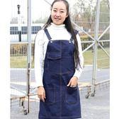 圍裙牛仔圍裙咖啡師美甲奶茶餐廳家居男女廚房正韓時尚工作服定制(1件免運)