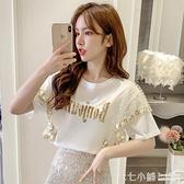 拼蕾絲T恤~ 短袖t恤女2021夏款韓版亮片刺繡網紗拼接蕾絲荷葉邊百搭寬鬆上衣