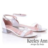 2019春夏_Keeley Ann造型透視跟 金蔥低跟涼鞋(白色) -Ann系列