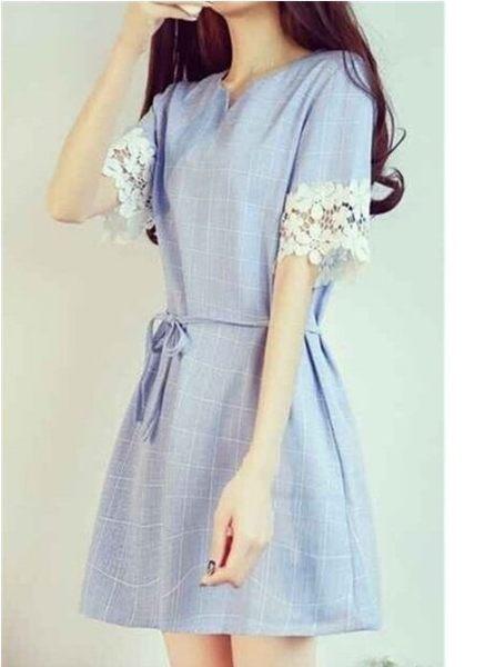現貨粉色XL短袖洋裝連身裙禮服XL-5XL中大尺碼14386/夏季小清新蕾絲格紋 依品國際