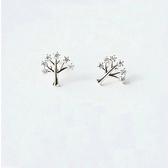 耳環 925純銀鑲鑽-精緻小樹生日情人節禮物女飾品2色73gk114【時尚巴黎】