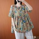 民族風上衣 夏季文藝大碼女裝上衣女新款印花藏肉寬鬆顯瘦圓領短袖T恤衫 阿薩布魯