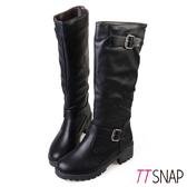 長靴-TTSNAP 率性騎士金屬帶釦平底中筒靴 黑
