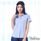 Victoria 素面配細條基本短袖襯衫-女-淺粉/淺藍