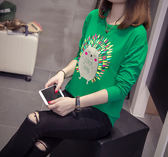 【GZ7R】秋裝新款上衣 可愛卡通印花修身顯瘦長袖T恤 薄款學生裝 時尚百搭潮裝