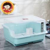 歐式塑料碗櫃廚房放碗架帶蓋瀝水碗筷收納盒放碟架滴水碗盆置物架 NMS 滿天星