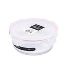 NEOFLAM專利耐熱玻璃保鮮盒 圓形-620ml (粉紅膠條)