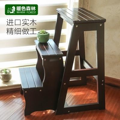 梯子實木梯凳多功能家用梯子室內加厚摺疊兩用三步小臺階樓梯椅登高凳FA