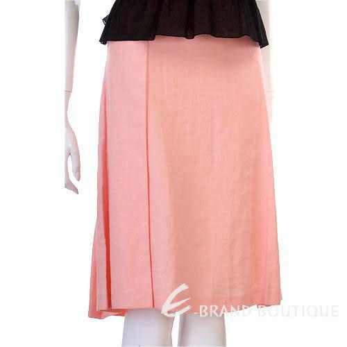 VALENTINO 粉橘色抓褶及膝裙 0530027-05