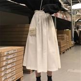 長裙 裙子女新款夏韓版鬆緊花苞腰白色百褶 半身裙女學生 潮流衣舍