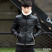 騎行服洋裝 冬季加絨皮衣男士翻領韓版修身機車服青年大碼男裝加厚毛領皮夾克 宜室家居