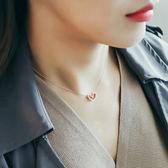 【優選】純銀項錬幾何鏤空愛心形吊墜鎖骨錬生日禮物