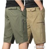 夏季中年男士七分短褲寬鬆休閒純棉老年父親大碼鬆緊腰中褲 『蜜桃時尚』
