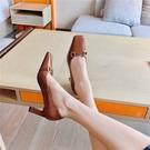 手工真皮女鞋34-40 2021新款法式優雅百搭頭層牛皮馬銜扣方頭高跟鞋 裡外全皮 ~2色