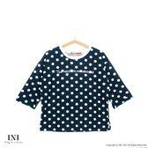 【INI】風格寬版、彈力韓版舒適面料波點上衣.黑色