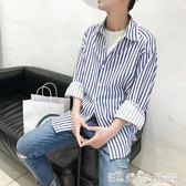現貨出清秋季日繫新款長袖藍白色條紋襯衫韓版薄款休閒寬鬆寸衫外套男女潮 「潔思米」8-29
