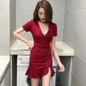 夏裝2019新款女主播夜店性感低胸V領短袖高腰緊身開叉包臀連身裙