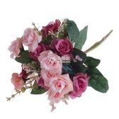 仿真花 歐式田園套裝玫瑰花束裝飾花擺件花瓶插花假花絹花客廳擺設 卡菲婭