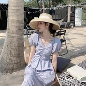 很仙的連身裙新款夏季一字肩收腰顯瘦復古智熏桔梗裙 花樣年華